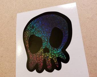Holographic Black Skull Decal Sticker