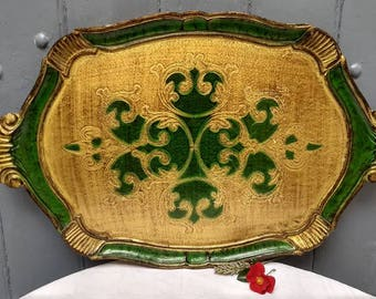 Lovely vintage Italian Florentine tray, large serving tray, vintage home decor..