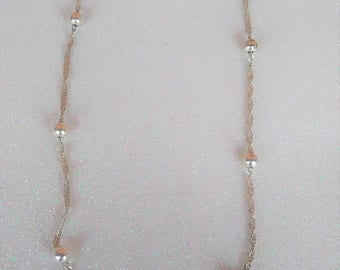 Vintage Sterling Silver .925 Beaded Twist Necklace Made in Italy