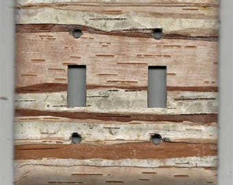 real wood - birch bark covered light switch plate - double toggle double hole