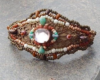 Boho Beaded Filigree Bracelet - Beadwoven, Gypsy Cuff in Earthy Terra Cotta, Bronze, Turquoise and Sand