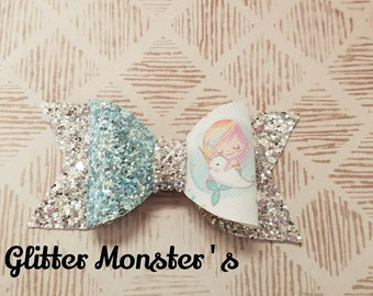 Glitter Mermaid and Narwhal Hair Bow, Mermaid and Narwhal Hair Bow, Narwhal Headband,Leather Bows,Toddler Bows,Girls Hair Clips, Narwhal Bow