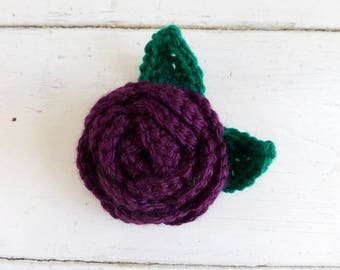 Crochet brooch, crochet rose, crochet rose brooch, purple brooch, purple rose, gift idea, handmade, ready to ship, cute crochet brooch