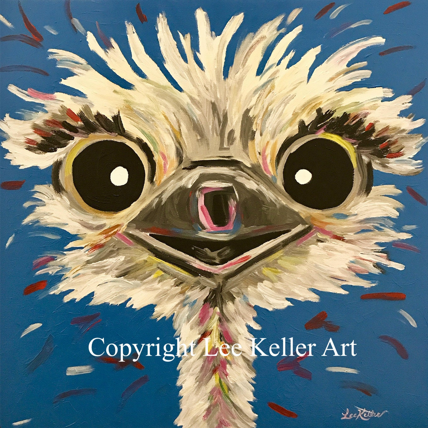 Ostrich Painting custom colorful fun animal art painting of
