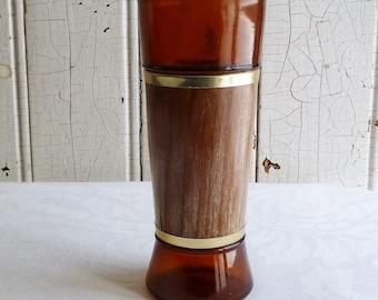 Mid-Century Siesta Ware Tiki Glass - Amber Glass Wrapped in Wood, Goldtone Trim - 1960s Highball Glass Tumbler - Vintage Barware