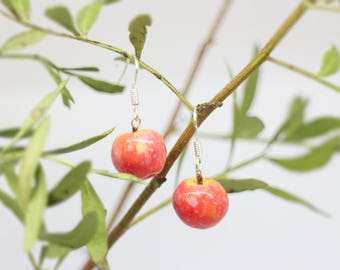 Apple earrings, Pink lady apple, 925 sterling silver finish, gift for friendship, gifts for mum, kawaii, fruit earrings, miniature apple