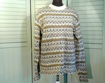 Vintage Wool O'Hanlon Mills Pullover Sweater Mock Turtleneck Bold Overall Nordic Cream Brown Carragn Kelly Men's Size L Large XL Extra Large