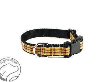 """MacLeod Tartan Dog Collar - Red Yellow Black Plaid - 3/4"""" (19mm) Wide - Martingale or Side Release - Choice of collar style and size"""