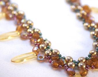 Autumnal Amber Beadwork Necklace: Ginny
