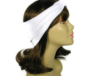 White Lycra Fitness Headband Stay in Place Fitness Head Wrap White Head Wrap Lycra White Turban Head Wrap White Knotted Turban Headband