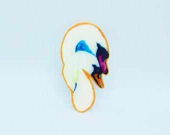 Swans Painting Pair Handmade Broach or Magnet Couple Shrink Film