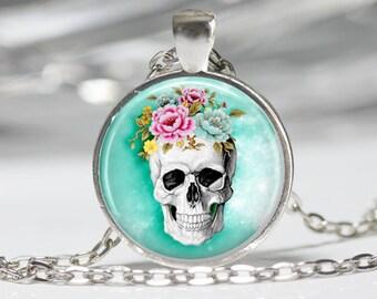 Steampunk Jewelry Skull Necklace Sugar Skull Jewelry