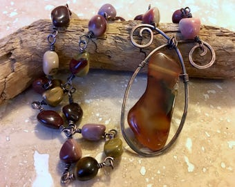 Australian Moukaite/Mookaite, Banded Agate & Hammered Copper Necklace; Eco Friendly Jewelry; Boho Pendant; Zen Jewelry; Sustainable Jewelry