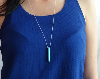 Turquoise spike necklace - long layering necklace