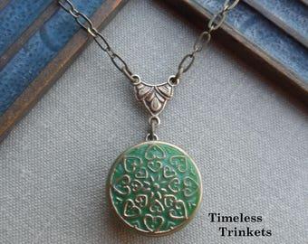 Vintage Button Necklace, Czech Glass, Geometric Heart Design, Kelly Green with Gold Trim, Antique Brass, Timeless Trinkets