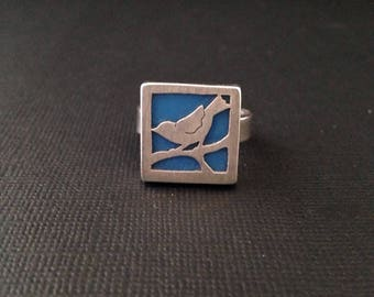 Sterling silver and enamel birdy ring