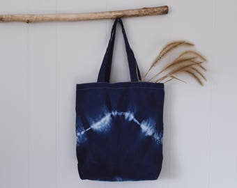 Hand Dyed Shibori Canvas Tote || Wave Collection