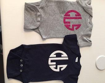 Girls Glitter Monogram Short Sleeve Creeper or Tshirt - Personalized and super CUTE!!!