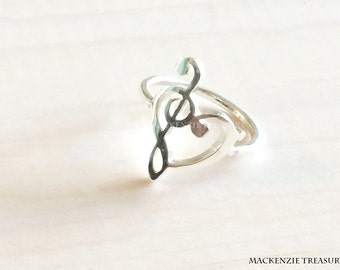 Music Note Ring - Heart music ring - Love of music necklace - G clef bass clef heart ring Silver music note ring music note jewelry