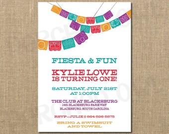 Birthday Fiesta Invitation with Papel Picado - Boy - Girl - Co-Ed - Burro Piñata - Baby Shower - Digital File