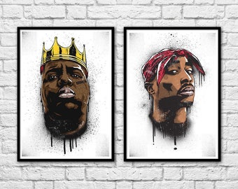 2 Art-Posters 30 x 40 cm - Tupac Shakur and Notorious BIG