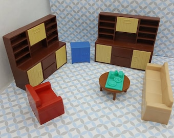Marx Livingroom 4 Piece Furniture Arco wall units  Dollhouse Traditional Style Soft and Hard  Plastic