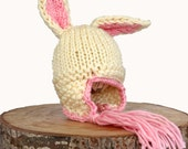 Bunny Hat - Easter Hat - Newborn Photography Prop - Easter Photo Prop - Bunny Ears - Kids Photo Props - Knitted Rabbit Hat - Hand Knit Items