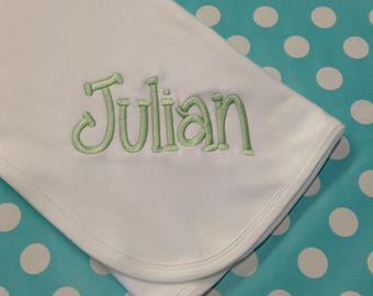 White Baby Blanket with Embroidered Name ~ Organic Cotton