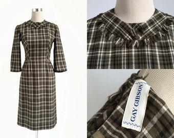 Reduced 1950's Dress - 50's Vintage Dress - Gay Gibson - Khaki Brown Check - Preppy Plaid Dress