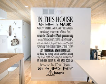 Harry Potter in this house quotes, Dumbledore,  Hogwarts, Childrens, Film, Book, Wall Art Vinyl Decal Sticker