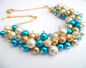 Turquoise Blue Pearl Wedding Jewelry, Chunky Pearl Necklace, Ivory Gold and Blue, Bridesmaid Jewelry, Cluster Necklace Bridesmaid, Bridal