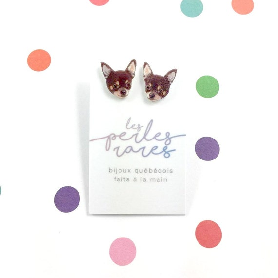 chihuahua, brown, dog, earring,dog, cute earring, little dog, hypoallergenic, plastic, stainless stud, handmade, les perles rares