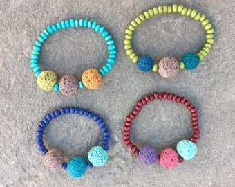 Kid's Pleasing Aroma Diffuser Bracelet- Essential Oil Diffuser jewelry, Aromatherapy Jewelry, Turquoise, Wood, Lava rock, Gemstone