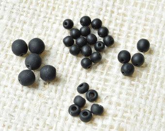 Black Glass Beads, 5 oz Assortment, Matte finish, Beading, Jewelry, Crafts, DIY
