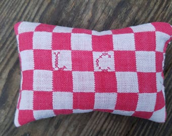 Red and white french initials lavender bag L C