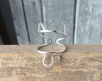 Cat Ring - Ears and Tail - Adjustable - Sterling Silver 925 - Made to Order