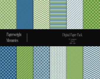 Ordinary Day - digital patterned paper - Instant download - digital scrapbooking - green and blue patterned paper - Commercial use
