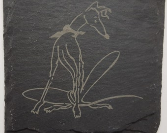 Natural Slate Coasters Laser Etched with Nellie Doodles Hound Designs - Set 4