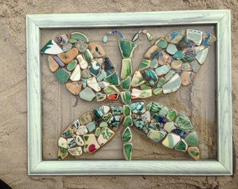 Butterfly Mosaic with Beach pottery from Serbia