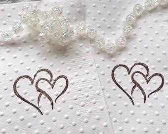 Wedding Napkins - Bridal Shower Napkins - Baby Shower Napkins - Anniversary - Love Theme - Rustic Theme - Rehearsal Dinner - Vow Renewal