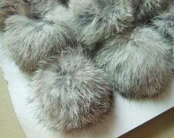 3pcs 6cm Natural Gray Real Rabbit Fur Ball Rabbit Fur Pom Poms