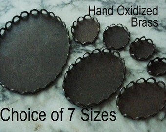 Size Choice Lace Edge Bezel Setting 8/6 10/8 12/10 14/10 18/13 25/18 40/30 mm Oval Flat Back Cameo Stone Cabochon Aged Brass Dark Patina S2C