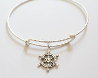 Sterling Silver Bracelet with Sterling Silver Ship Wheel Charm, Ship Wheel Bracelet, Ship Wheel Charm Bracelet, Ship's Wheel Bracelet, Boat