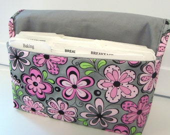 40% Off Coupon Organizer / Budget Organizer Holder/ Attaches to Your Cart - Gray with Pink Daisy