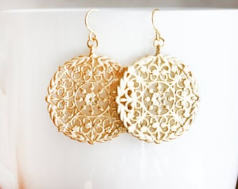 Gold Round Filagree Earrings Moroccan Style Jewelry