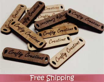 "50 Custom Wood Tags - 1.5"" x .38"" Dual Hole - Laser cut & Engraved (T-0002)"
