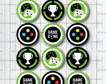 Printable Cupcake Toppers, Video Game Party, Game Zone, Controller, Gaming, Level Up, Gamer, Birthday, Decorations, DIY,  INSTANT DOWNLOAD