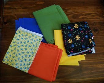 Lot of Fabric Pieces for Quilting or Other Craft Projects - Floral Prints and Primary Colors