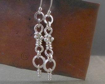 Sterling Silver Rustic Knot Earrings, Organic Dangle Silver Knots, Dangling Knots, Handmade Ina Earrings, Aroluna