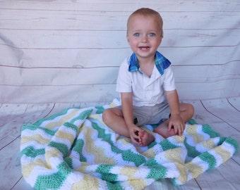 Mint Green and yellow Baby crochet blanket - green and yellow and white baby blanket - gender neutral baby bedding - baby nursery